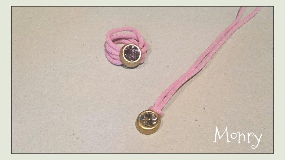 Conjunto swarovski rosa y oro viejo