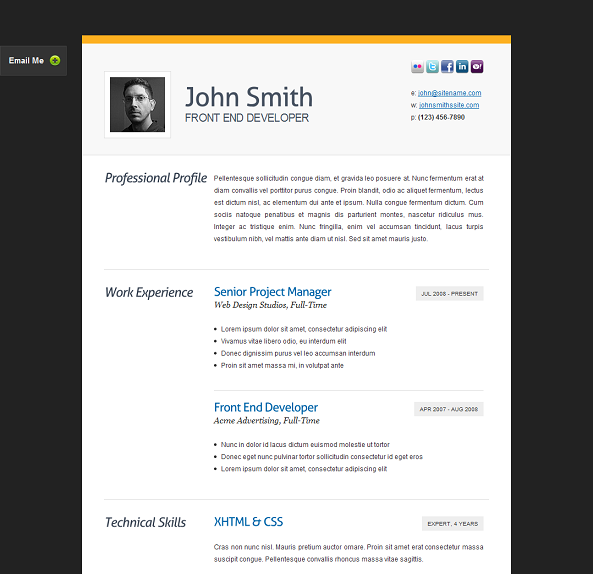 Of The Best Free And Premium CV And Resume Website Templates - Resume website template free