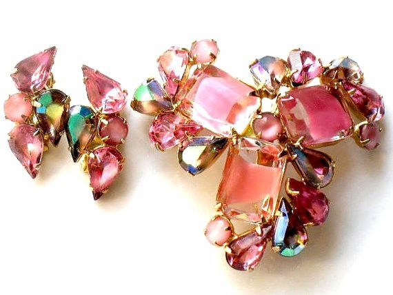 Confirmed JULIANA DeLizza and Elster Pink Rose Brooch and Earrings High Fashion Vintage Jewelry Collectable by JewelryQuestDesign, $115.99