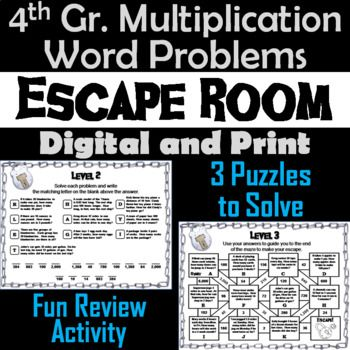 4th Grade Multiplication Word Problems Game: Escape Room Math | TpT ...