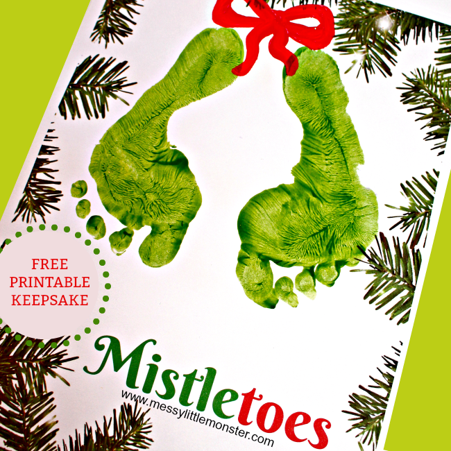 Christmas 'Mistletoes' footprint keepsake for kids with a free printable. An easy keepsake Christmas Card idea for babies, toddlers and preschoolers. #mistletoesfootprintcraft