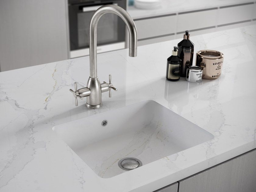 Single Silestone Sink Integrity Q By Cosentino Calacatta Gold Kitchen Calacatta Gold Silestone Kitchen