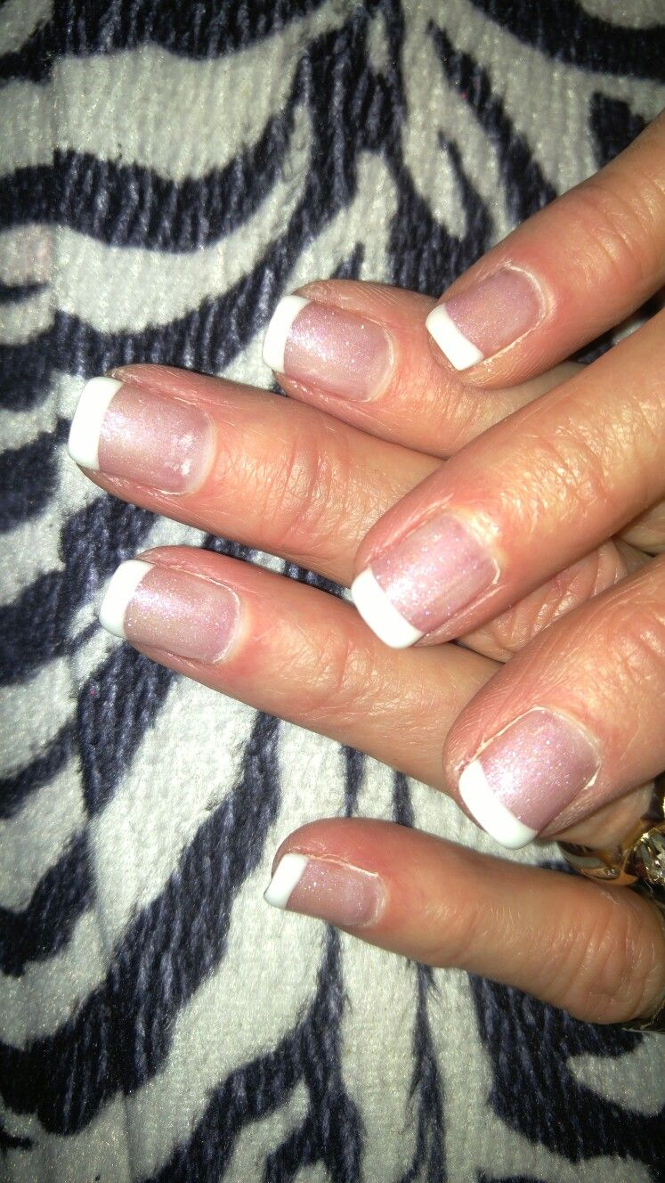 Beautiful white French tip nails. Gel French tips with Princess ...