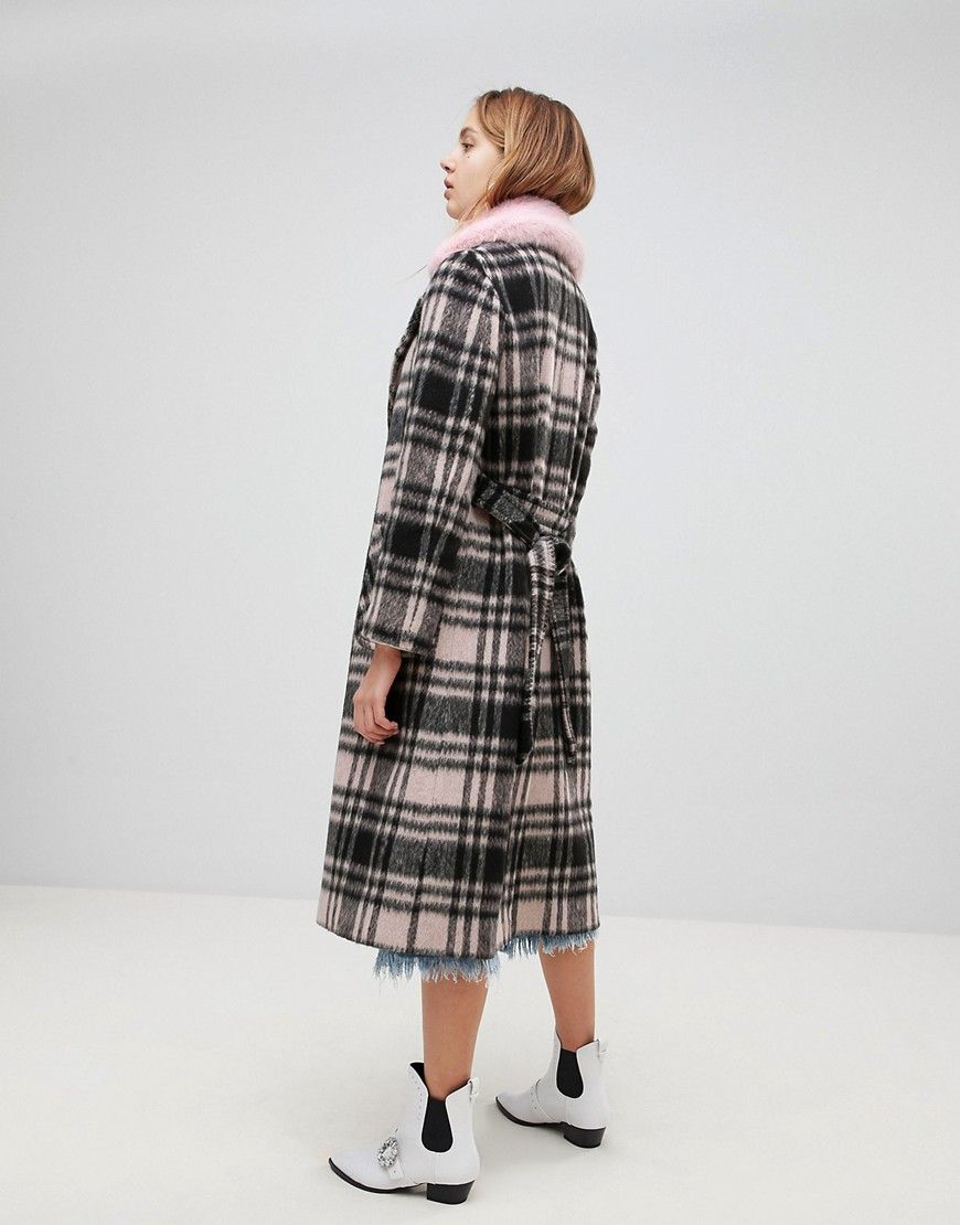 04b59b58b744 Helene Berman Wool Blend Longline Check Faux Fur Collar Coat | Style ...