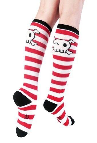 Red Striped Pirate Skull Knee Socks on www.amightygirl.com