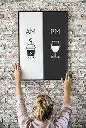 Am Pm, Printable Art, Kitchen Poster, Coffee & Wine Decor, Home Decor, Wall Art, Am Pm Sign, Wine Sign, Coffee Sign, Digital Download#art #coffee #decor #digital #download #home #kitchen #poster #printable #sign #wall #wine