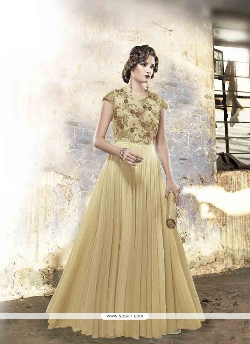 Magnetic cream embroidered work designer gown model yogo gowns