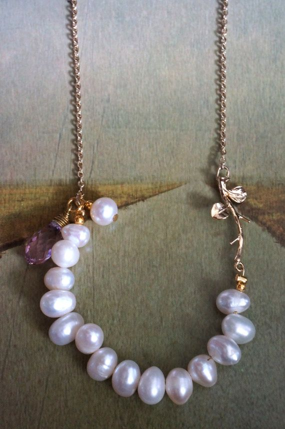 freshwater pearls with rose quartz crystals by coopaccessories, $40.00