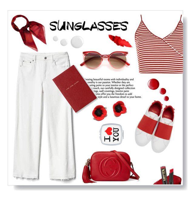 """""""Retro sunglasses"""" by gul07 ❤ liked on Polyvore featuring Gap, Topshop, Givenchy, Gucci, Maybelline, L.A. Girl, Smythson and RetroSunglasses"""