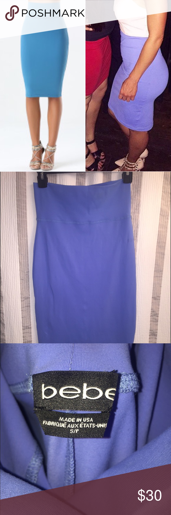 Bebe knit midi skirt. Size small Bebe knit midi skirt. The blue in my photos is more accurate of the natural color. The material is a really great quality. Only wore this once. Gorgeous color for summer. Retails in stores now for $69. +tax. bebe Skirts Midi