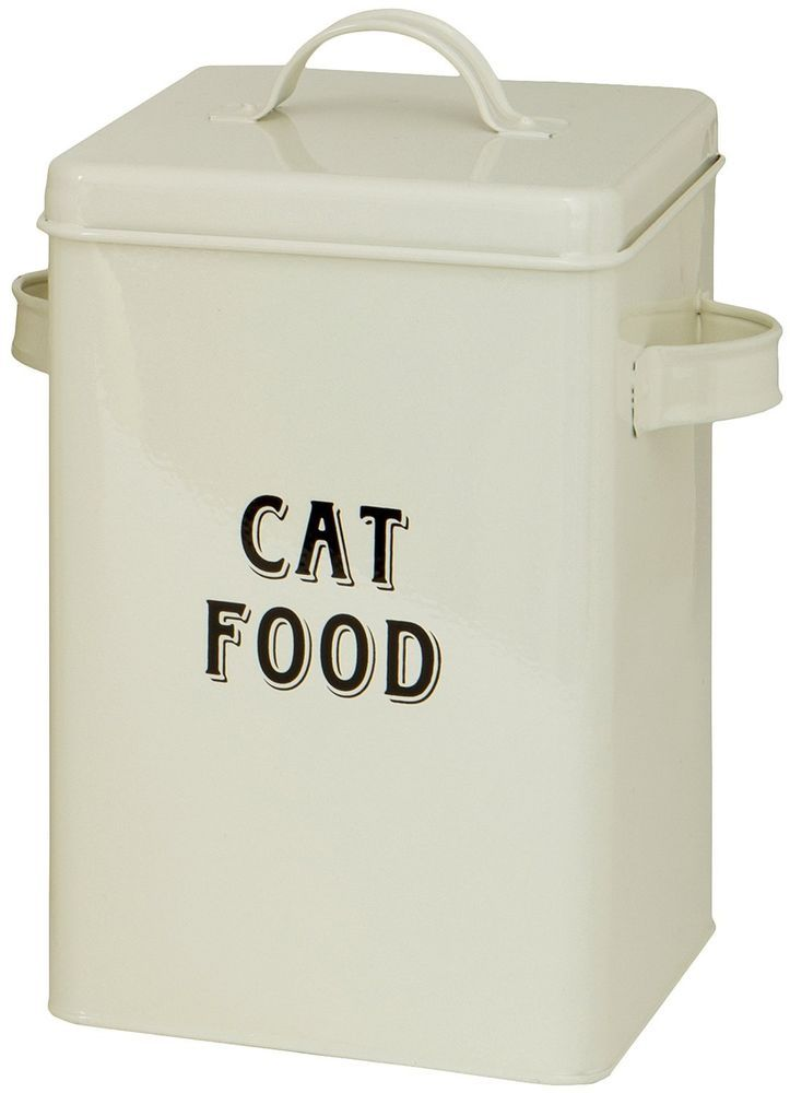 Cat Food Storage Container Tin Handy Scoop Convienent Vintage