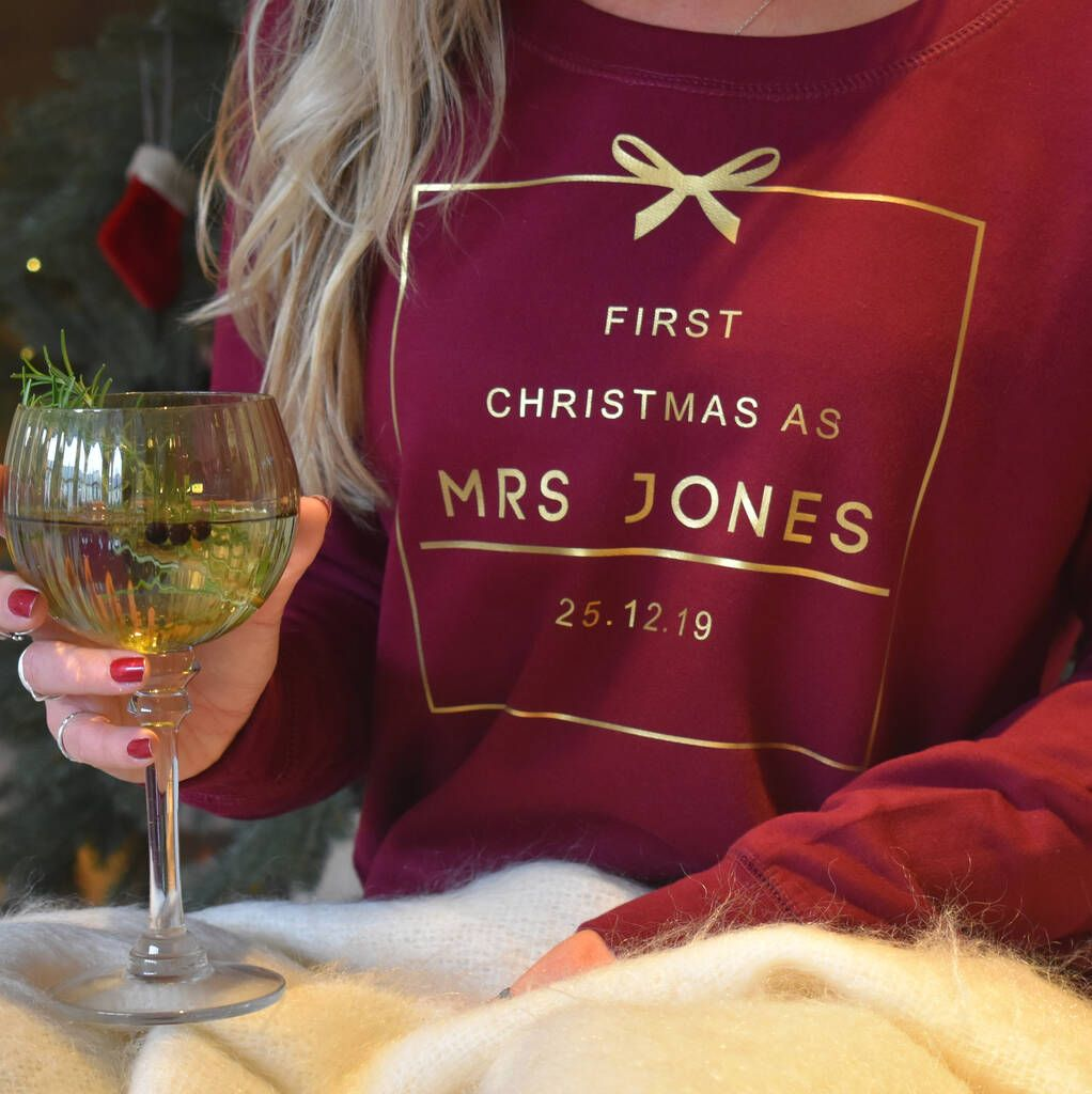 First Christmas As Mrs Personalised Jumper In 2020 Personalized Christmas Pajamas First Christmas Christmas Couple