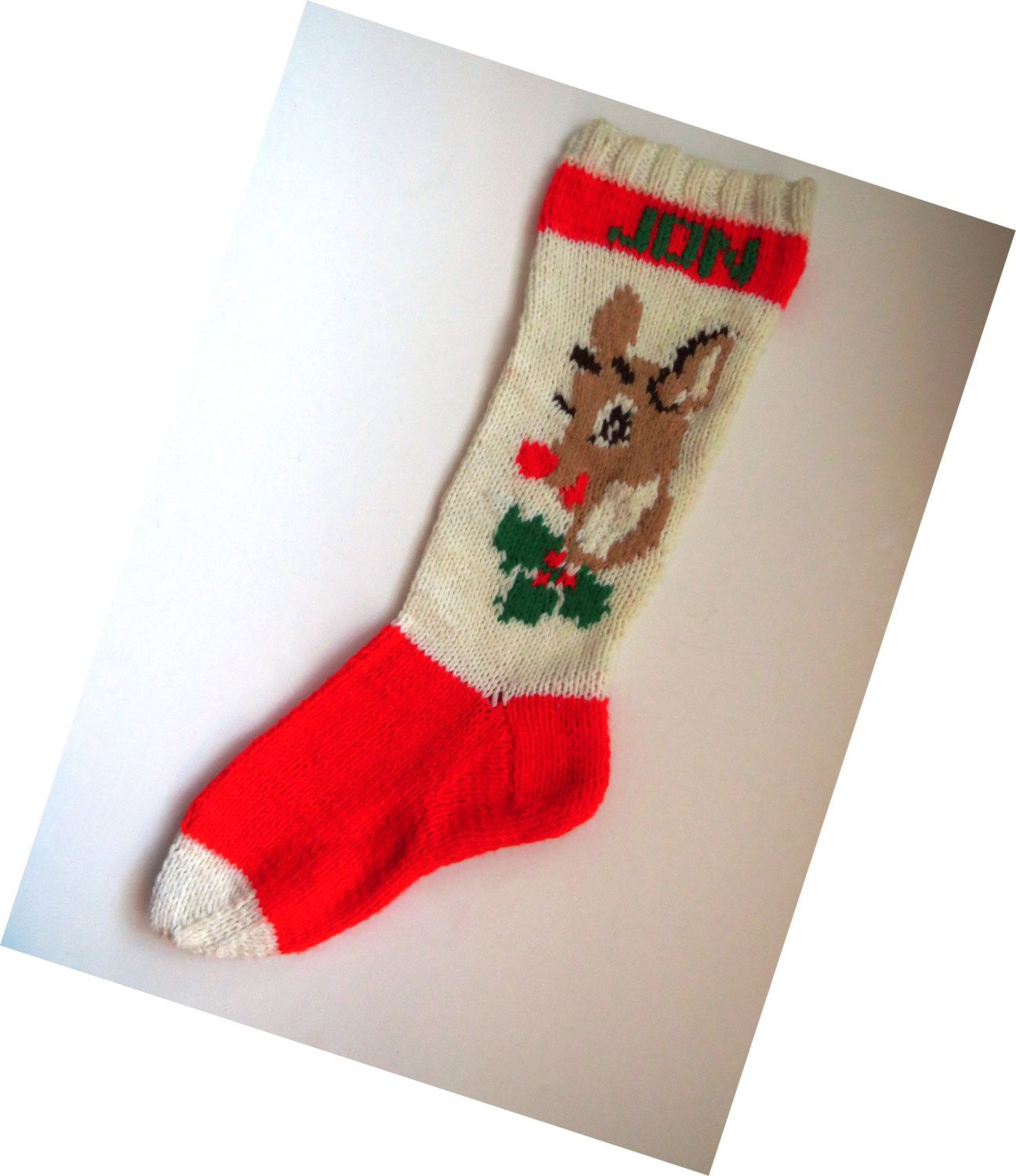 Vintage Hand Knit Rudolph the Red Nose Reindeer Christmas Stocking ...
