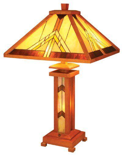 U003eMission Design Lighted Base Tiffany Style Table Lamp