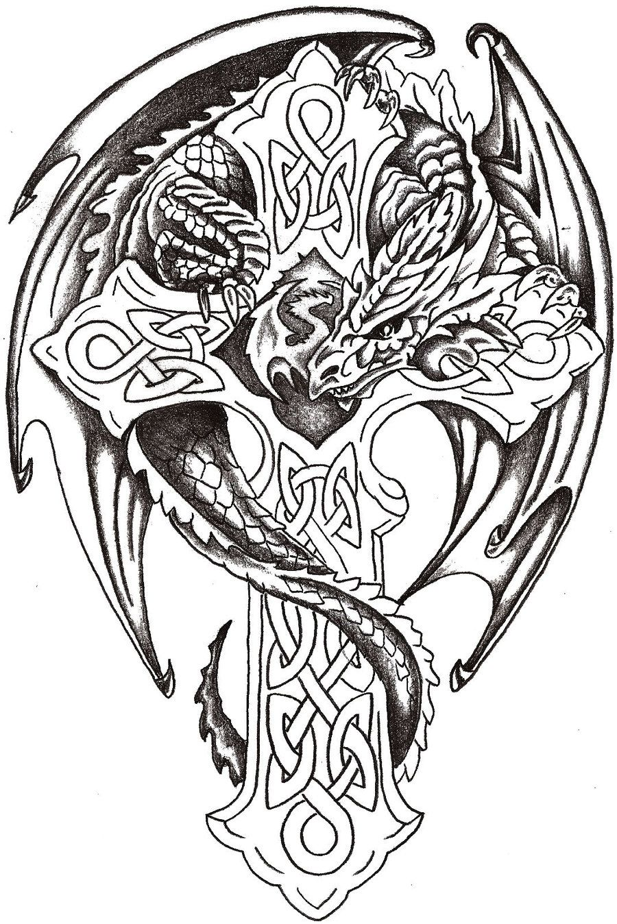 Coloring pages for adults crosses - Dragon Cross Tattoo