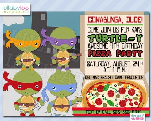 ninja turtles birthday invitations boys birthday ninja turtle party