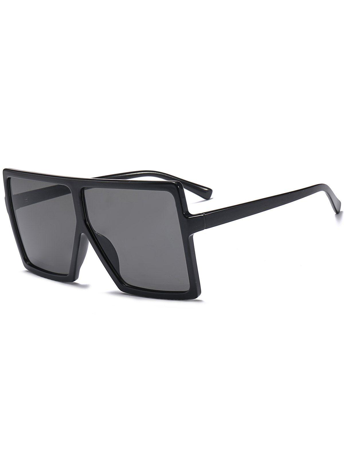 5863ef14bf Oversized Square Full Frame Sunglasses In Bright Black+grey