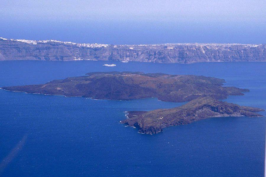 Aerial Image Nea And Palea Kameni Islands Santorini