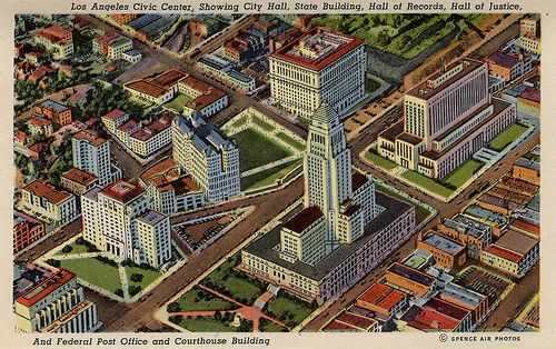 Los Angeles Civic Center Showing City Hall State Building Hall Of Records Hall Of Justice And Federal Post Office And Courthouse Building Center City City Hall City