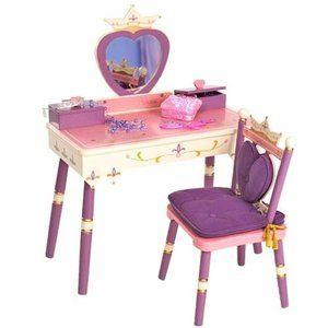 Wildkin Princess Vanity Table Chair Set Light Pink Walmart Com Bedroom Vanity Set Kids Vanity Girls Princess Bedroom