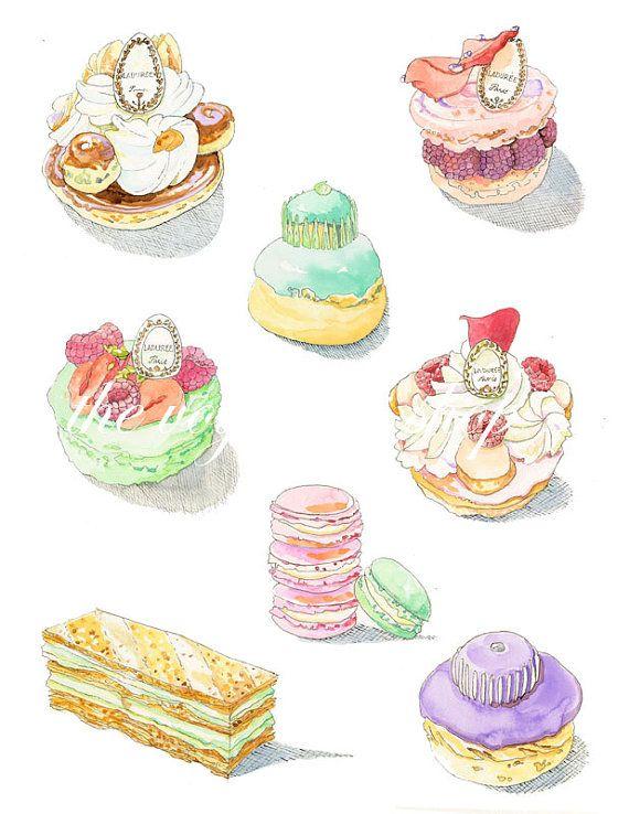 Laduree Pastry Dessin Pâtisserie Illustration Dessert