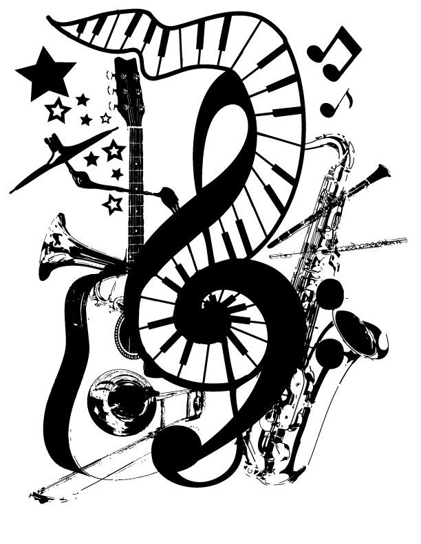 Music Instruments Collage Art G Clef #guitar #piano