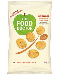 NATURAL MULTIGRAIN CRISP THINS 85G   The Food Doctor Crisp Thins contain less than 99 calories per bag whilst also delivering high levels of protein (25%) & fibre. 80% of people eat too little fibre in their diet, so this is a delicious and healthy answer to that problem. Our Crisp Thins are also 50% lower in saturated fat than standard fried potato based crisp snacks.  SHOP: http://www.thefooddoctor.com/src/fdcom/NATURAL-MULTIGRAIN-CRISP-THINS-85G-PCTNATURAL/