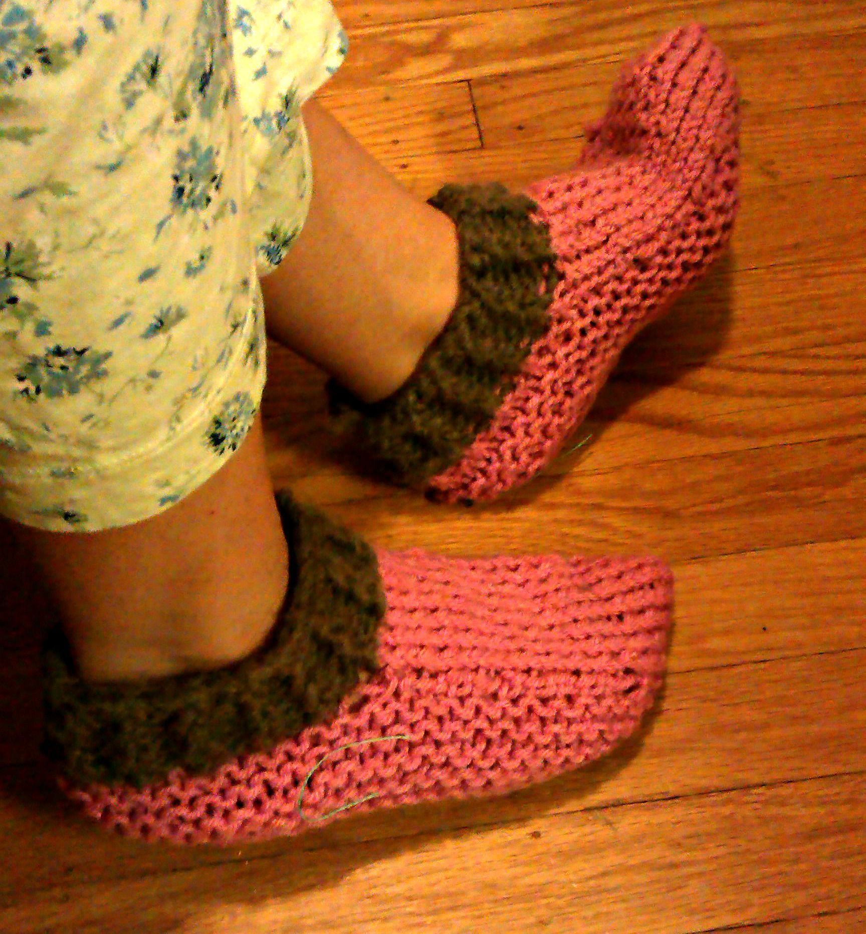 """Finished pair of knitted slippers, using the """"Nola's"""