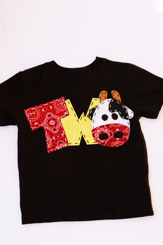 Barnyard Birthday Shirt Two Cow 2nd T Barn Yard Farm Theme Boy Black
