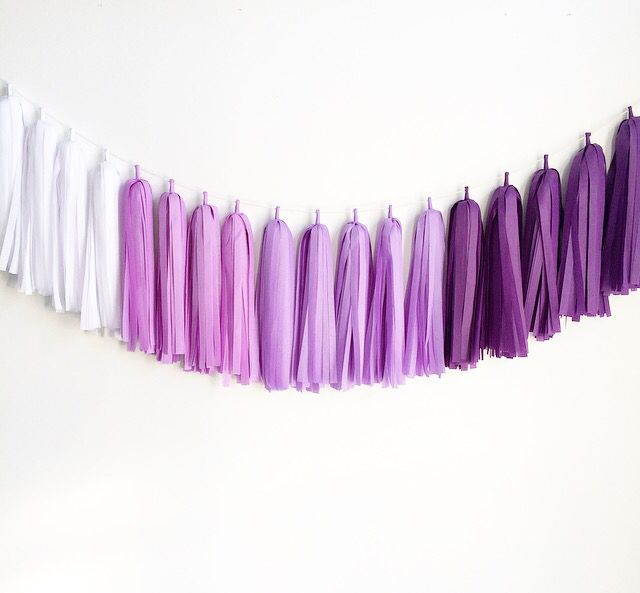 Purple Passion Ombré in our Signature {The Knot} Style! #tasselgarland #partydecor #backdrop
