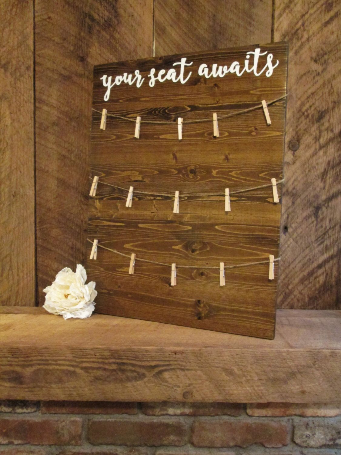 Wedding decorations venue october 2018 Wedding seating chart your seat awaits sign find your seat wood