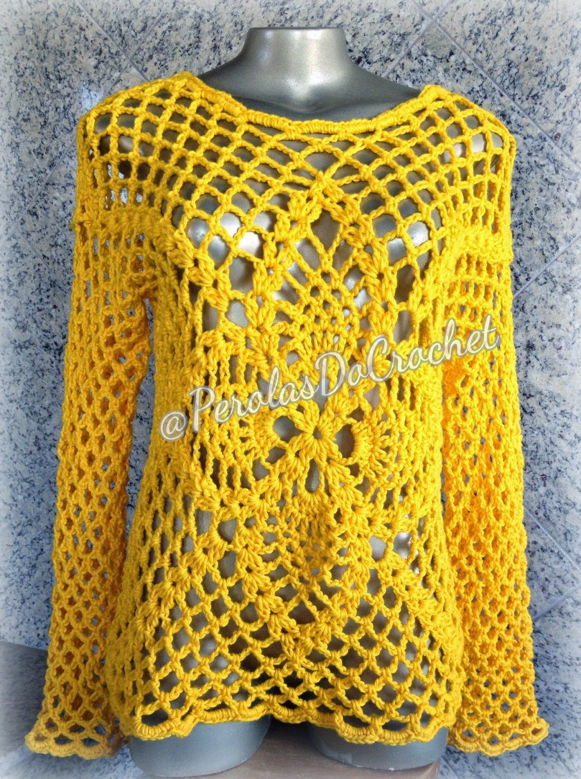 Pérolas Do Crochet Blusa Em Croche Com Barroco Maxcolor Da Círculo