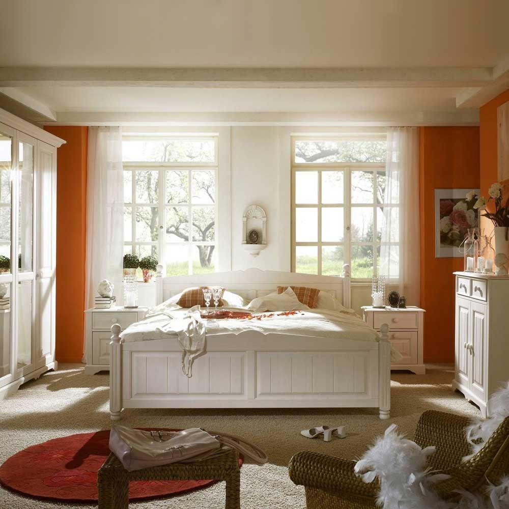 Landhaus Schlafzimmer Set in Weiß Pinie Massivholz (3-teilig) Jetzt ...