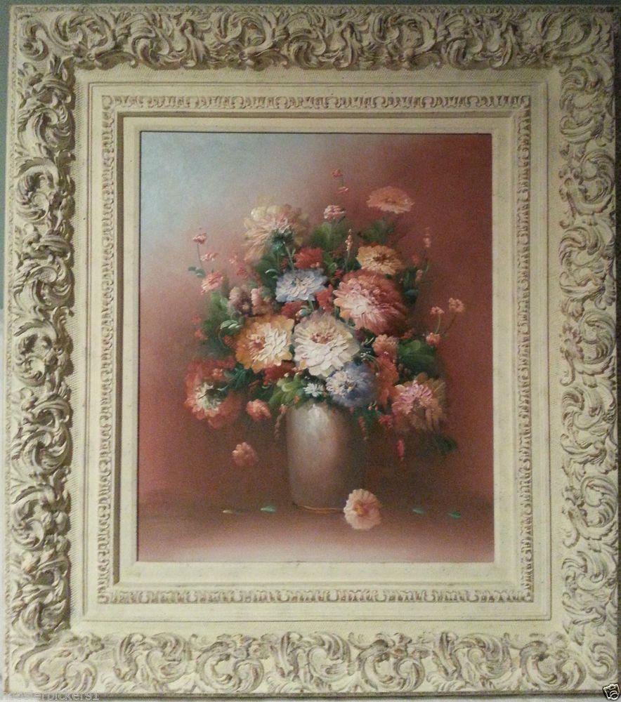 Original Large wood framed K Stone Floral Flowers in vase