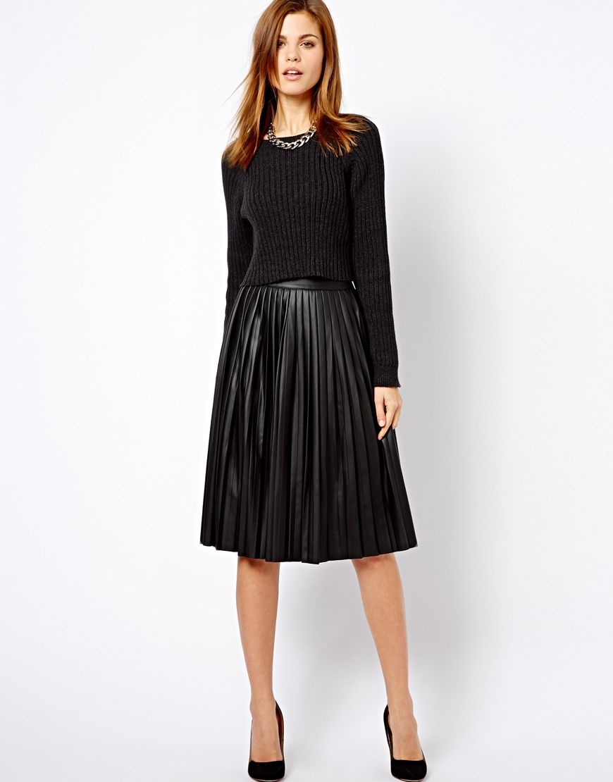 14d31d0eac35 Women s Black Warehouse Leather Look Pleated Midi Skirt