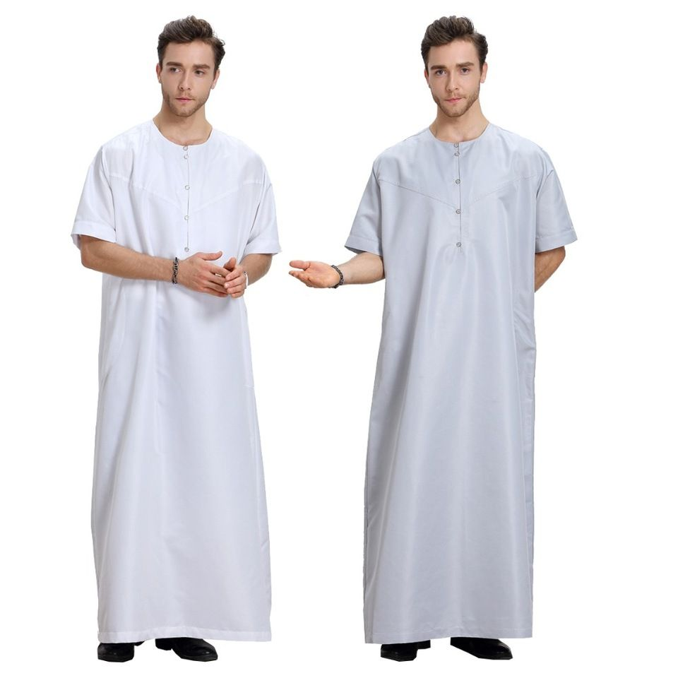 96ffd08006e0 2017 Middle East Thobe Islamic Short Sleeve Round Collar Front Open Men  Thobe In Stock