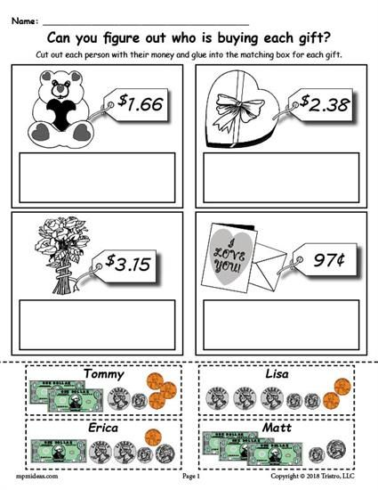free printable valentine 39 s day counting money worksheet worksheets activities lesson plans. Black Bedroom Furniture Sets. Home Design Ideas