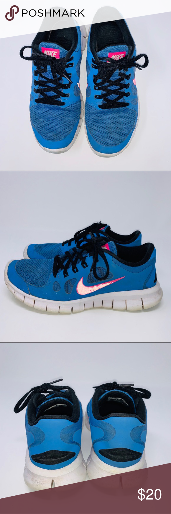 huge discount 871d2 51546 Girls Nike Free 5.0 Blue and Pink Sneakers Size 6Y Girls ...