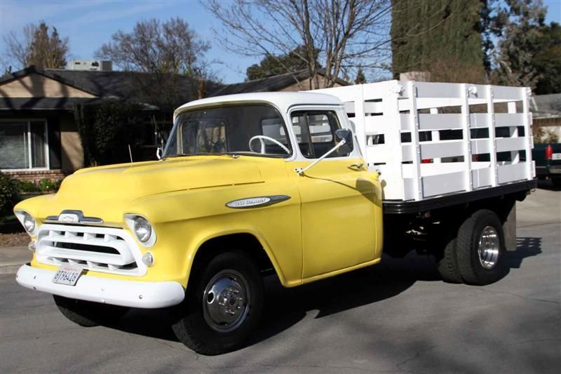1957 Chevy 1 Ton Flatbed Stakebed Truck Chevrolet Trucks Classic Cars Trucks Old Trucks