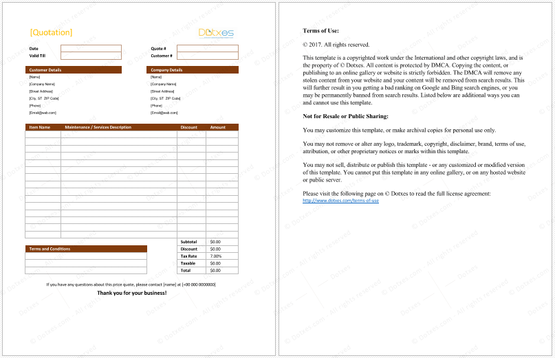 Maintenance Quotation Spreadsheet  Quotation Templates  Dotxes