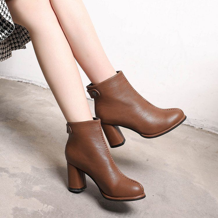 Tide Fashion Autumn And Winter Women Thick Heel Short Boots High Heels Female Warm Velvet Shoes Boots Boots For Short Women Velvet Shoes