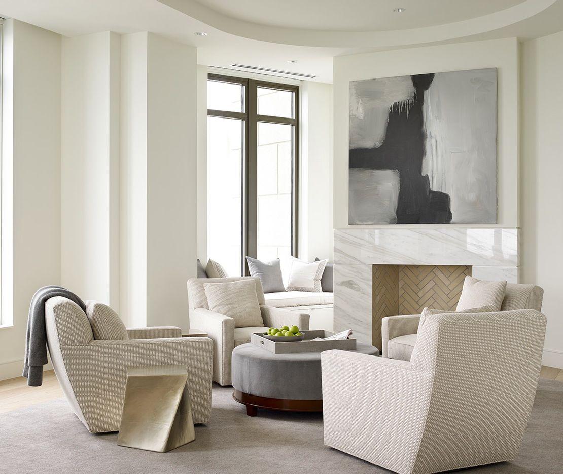 Mandarin Oriental Residences, Condominium Great Room Living Contemporary Modern Transitional by Robert Brown Interior Design