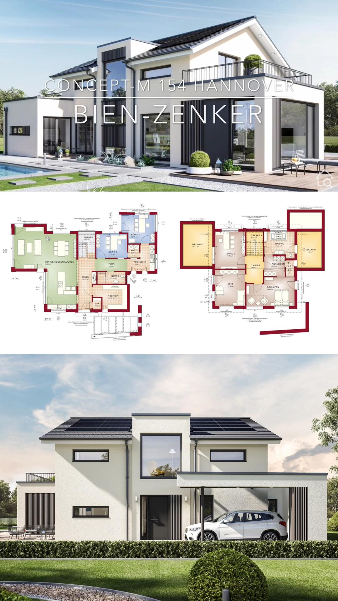Modernes Fertighaus mit Satteldach bauen Haus Ideen Design innen & aussen mit Grundriss