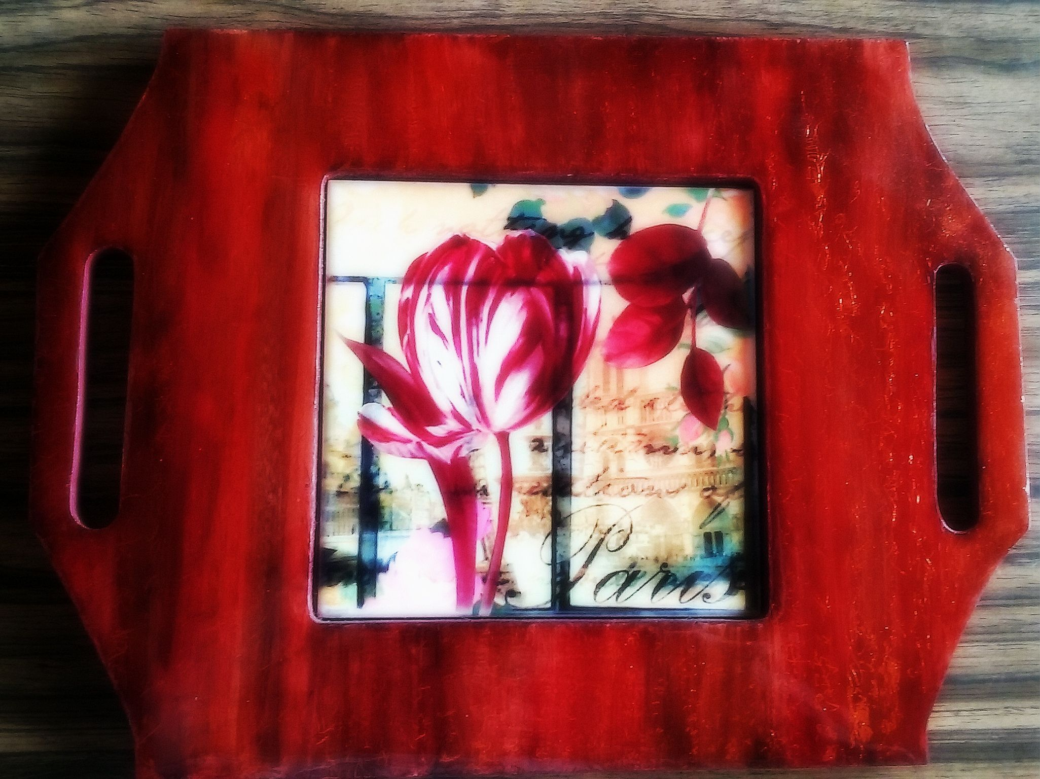 Bandeja estilo Vintage. Marco madera decorado con pintura para ...