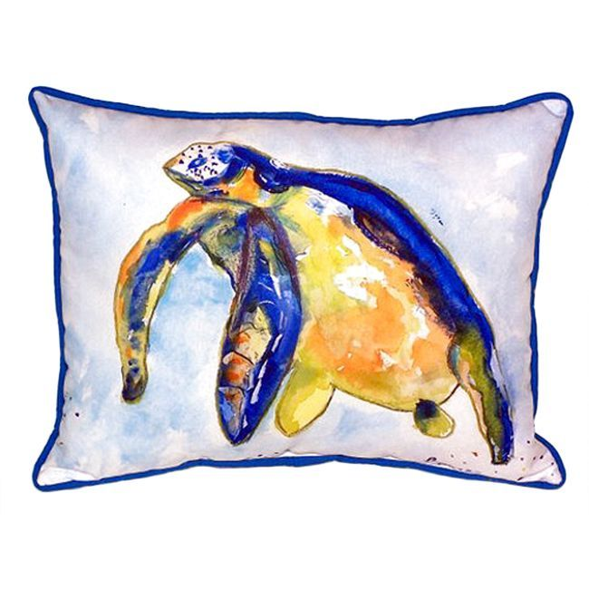 Betsy Drake Blue Sea Turtle Multi-color Polyester Indoor, Outdoor Throw Pillow (Blue Sea Turtle - Left Indoor/Outdoor Pillow 20x24), Multi