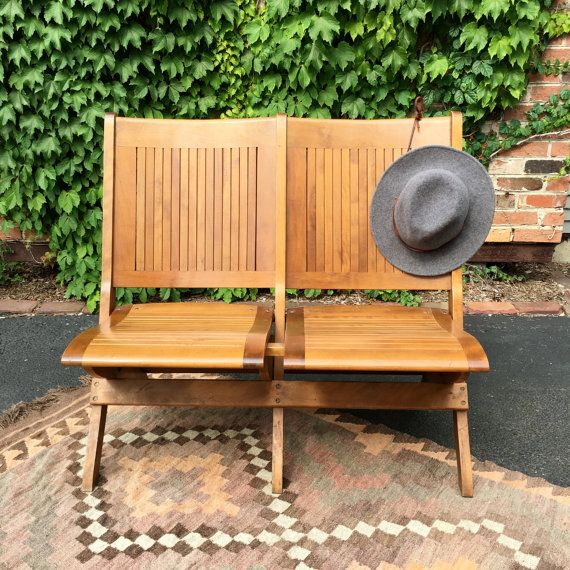 Brilliant Vintage Wood Theater Seats Set Of Two Folding Wood Stadium Caraccident5 Cool Chair Designs And Ideas Caraccident5Info