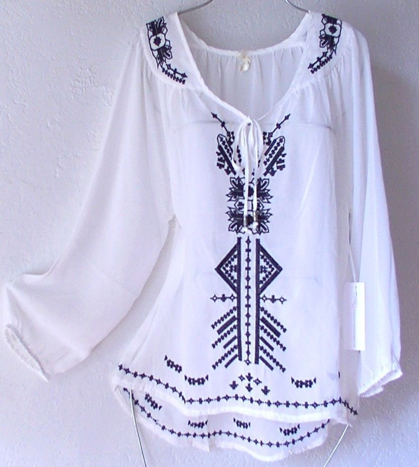 b986814170d758 NEW~Silky White & Black Embroidered Peasant Blouse Shirt Boho Top ~12/14/L/Large