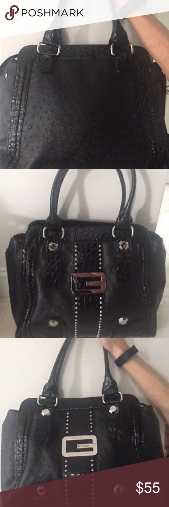 aef0fd2c090 GUESS Black Pocketbook Tote Bag (Exceptional) Up for sale is an absolutely  beautiful buy  Guess side purse ...