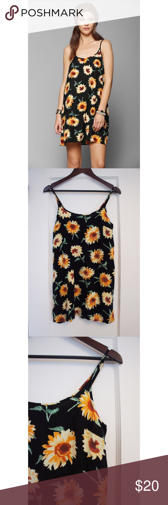 4e40cd5256d9 Urban Outfitters Kimchi Blue Sunflower Slip Dress Super cute slip dress by  Kimchi and Blue from Urban Outfitters in a size small. In great condition.