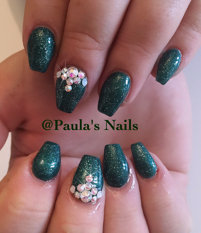 Green Nails With Swarovski Rhinestones Acrylic Nails Pinterest